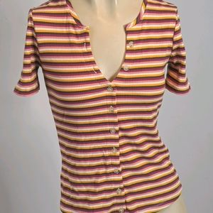 Anthropologie Maeve - stripe shirt sleeve